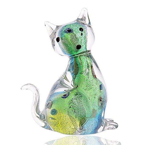 H & D Moderne glazen culptuur creatieve kat sculptuur deco sculptuur dier sculptuur van glas groen schattige