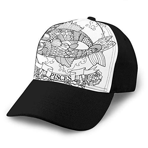Hat Cap Adjustable Baseball Cap Classic Men Women Unisex Ballcap Pisces Zodiac Sign Coloring Book Stencil Black White Lines lace Pattern