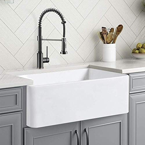 CELAENO 30 inch White Farmhouse Sink, Fireclay Porcelain Single Bowl Apron-Front Kitchen Sink, Reversible Ceramic Farm Sink with Strainer & Protective Bottom Grid