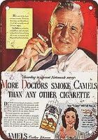 より多くの医者はキャメルを吸うビンテージルックメタルサイン家の装飾8x12インチの家の装飾20x30cm