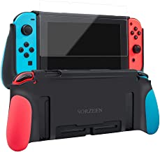 Protective Case for Switch,Dockable Cover Case for Switch,Grip Cover in Silicone with Anti-Scratch and Shock-Absorption Soft TPU,HD Screen Protector Included (Red and Blue)