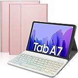 IVSO Backlit Español Ñ Teclado Compatible con Samsung Galaxy Tab A7, para Samsung Galaxy Tab A7 T505/T500/T507 10.4 2020 Teclado, Funda con 7 Colores Retroiluminado Wireless Teclado con Ñ, Oro Rosa
