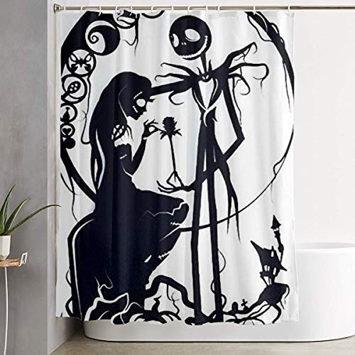 Stylish Shower Curtain Nightmare Before Christmas Jack and Sally Printing Waterproof Bathroom Curtain 60 X 72 Inches