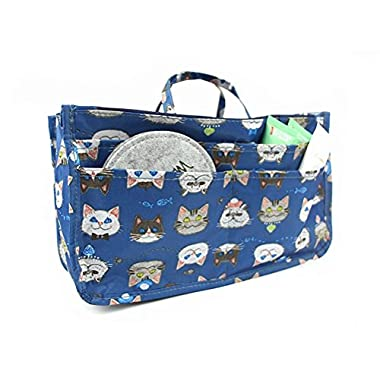 Handbag Organizer, Cute Printed 13 Pockets Purse Insert Organizer Bag with Handles (Cat)