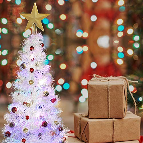 Balai 2 Foot Tabletop Artifical Christmas Tree Led Light Up White Tinsel Tree Decor with Fiber Optics