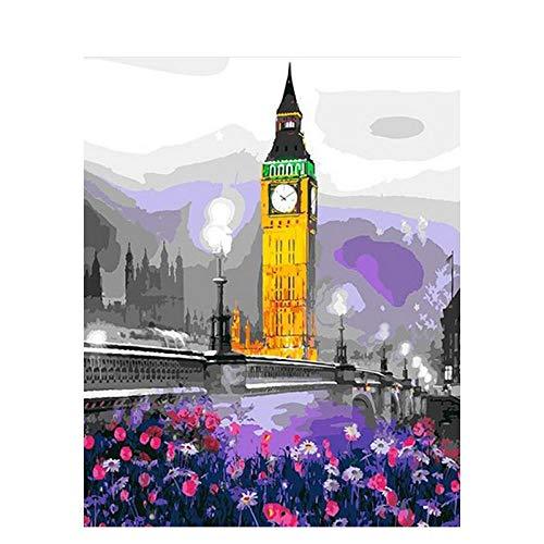 Lienzo de Bricolaje de Pintura al óleo Jardín del Big Ben Pintar por Numeros para Adultos niños Decoraciones para el hogar Regalo-16x20 Pulgadas Sin Marco