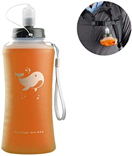 25 Oz Collapsible Water Bottle, Hamkaw Soft Silicone Water Bottle 750ML,25 OZ Portable FoldableツWaterツBottle for Marathon Running Hiking Cycling - Reusable Eco Friendly with Dust Cover