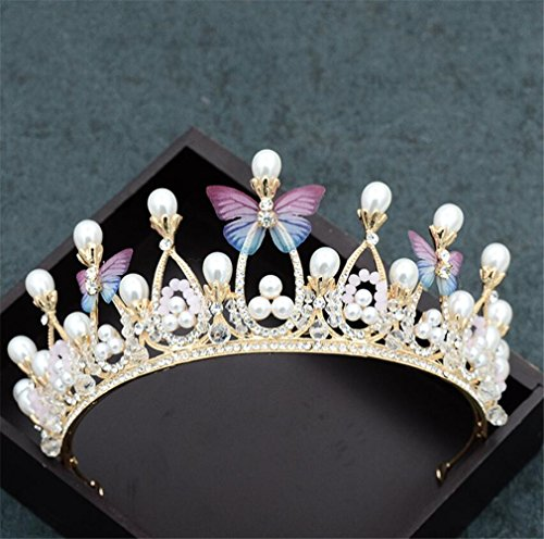 Elegance-Z De bruidskroon, eenvoudige vlinders, gouden parels, bruidsjurk, bruidsjurk, haaraccessoires, handgemaakt