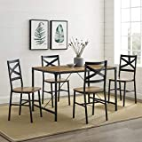 WE Furniture AZW48AI5RO Industrial Farmhouse Wood Metal Rectangle Dining Room Table Set, 48 Inch, Brown Reclaimed Barnwood