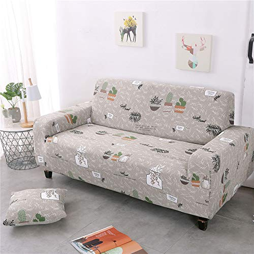 Enhome Sofa Slipcover Stretch Fabric, Elastic Couch Cover 1/2/3/4 Seat Non Slip Elastic Full Covered Furniture Protector Stretch Removable Super Soft Home Decor (Green pot,145-185cm)