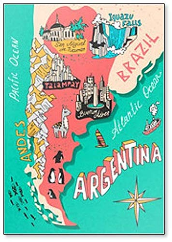 Illustrated Map Argentina, Brazilië Koelkast Magneet