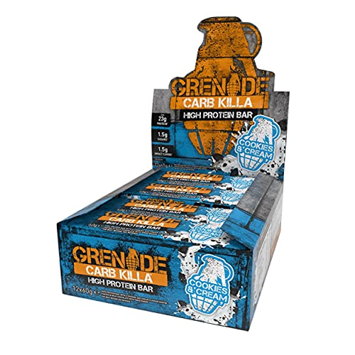 Grenade Carb Killa High Protein and Low Carb Barra Sabor Cookies and Cream - 12 Unidades