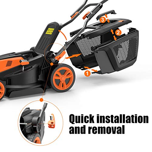 TACKLIFE Electric Lawnmower, 1600W Lawn Mower, 38cm Mowing Width, 6 Adjustable Mower Heights, Easy Folding for Space…