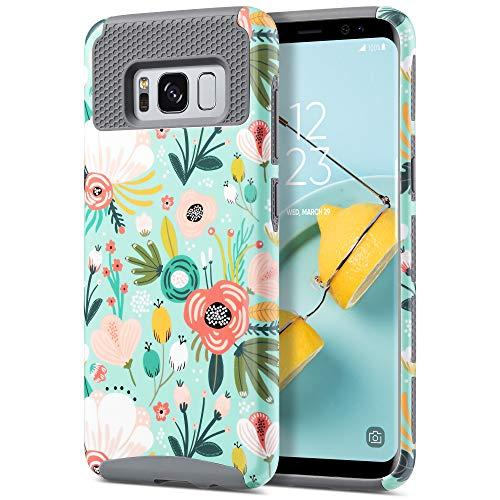 ULAK Coque Galaxy S8, Mince Housse Étui Hybride 2 en 1 TPU + PC Double Couche Protection Anti-Rayures et Antichoc Coque pour Samsung Galaxy S8, Menthe Fleur