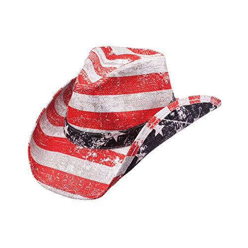 Peter Grimm Ltd Unisex Striped Patriot Flag Straw Cowboy Hat Red One Size