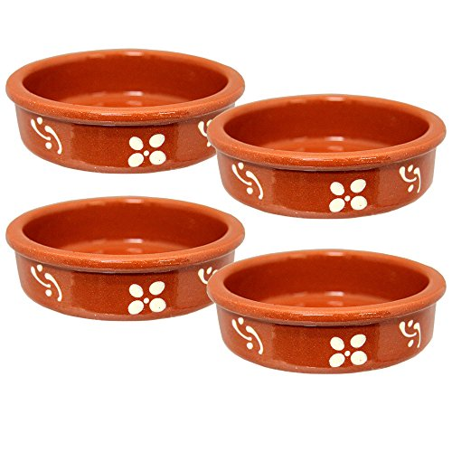Set of 4 Vintage Portuguese Traditional Clay Terracotta Crme Brle Dish Made In Portugal