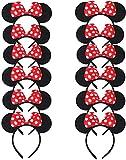 Carnavalife Pack 12 Diademas de Orejas de Mouse Ratón Minnie y Mickey con Puntos Blancos, Fiestas de disfraz para Cosplay, Accesorios de DIY para Cumpleaños (RHP-14*12)