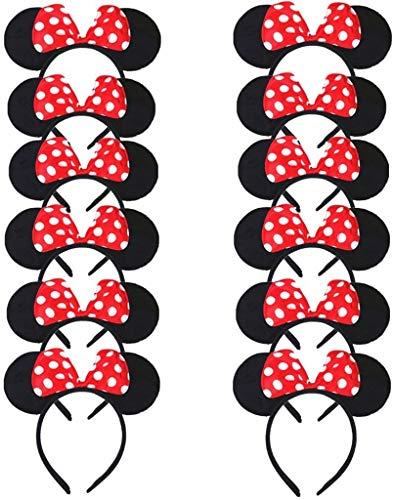 Carnavalife Pack 12 Diademas de Orejas de Mouse Ratn Minnie y Mickey con Puntos Blancos, Fiestas de disfraz para Cosplay, Accesorios de DIY para Cumpleaos