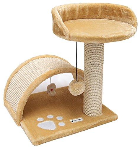 EYEPOWER Katzenkratzbaum Cindy Beige 44cm Natursisal Plüsch Katzen Kratzbrett Tier-Spielzeug