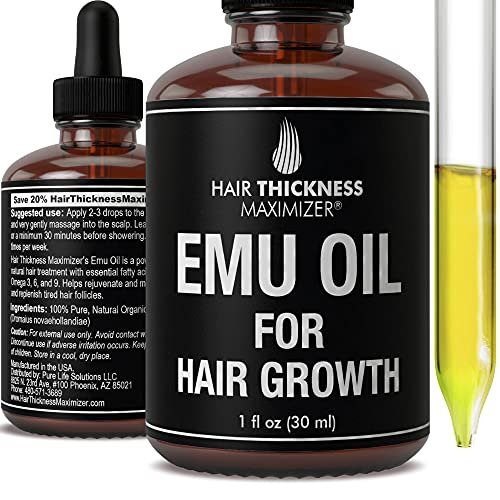 EMU Oil For Hair Growth by Hair Thickness Maximizer. Best Organic,...