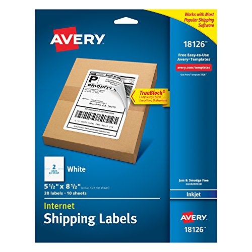 Avery Shipping Address Labels, Laser & Inkjet Printers, 20 Labels, Half Sheet Labels, Permanent Adhesive, TrueBlock (18126)