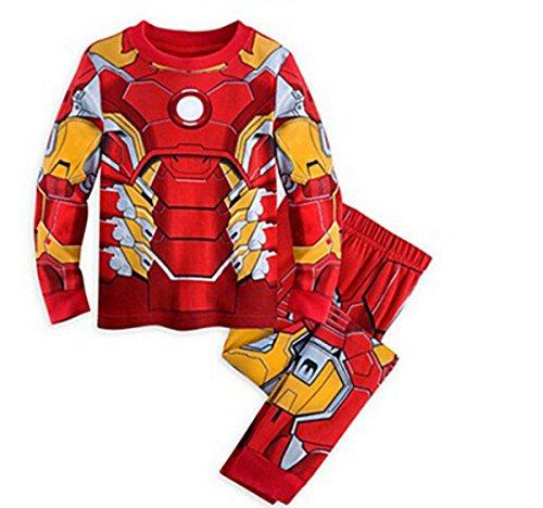 Topfly® Conjunto de ropa interior térmica para niños 100% algodón traje puro color pijama para niño