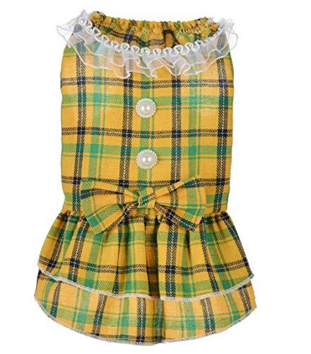 QIAO,PZSSXDZW/Hündkarin, Prinzessinnen -Kleid, Punkt, Druck, Baumwolle, atmungsaktiv, Hochzeitsparty -Kleid (rot/gelb) XS/S/M/L/XL