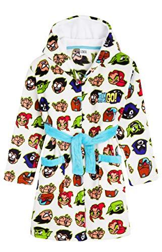 Teen Titans Go! Robe De Chambre Enfant en Polaire Douce, Peignoire À Capuche avec Starfire, Raven, Beast Boy Et Cyborg, Idée De Cadeau Ado Garçon Ou Fille (5-6 Ans)