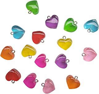 AMOBESTER Colorful Gummy Candy Love Heart Charms Pendants DIY Necklace for Child Girl