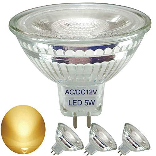 4er Pack,Voll Glas Reflektor MR16 LED warmweiss Lampe,AC/DC 12V,5W(Ersetzt für 35W-50W Halogenlampe),2700K Warmweiß, Glaslampenbecher, GU5.3 LED Strahler Licht Glühbirne,36°Abstrahlwinkel