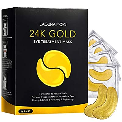 24K Gold Eye Mask, Anti-Aging Hydrolyzed Collagen and Hyaluronic Acid Under Eye Patches for Puffy Eyes & Bags, Dark Circles and Wrinkles, 16 PAIRS from Lagunamoon Beauty