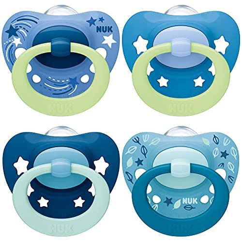 NUK chupetes para bebés noche y día | 6-18 meses | Chupetes que brillan en la oscuridad | Silicona sin BPA | Azul | 4 unidades
