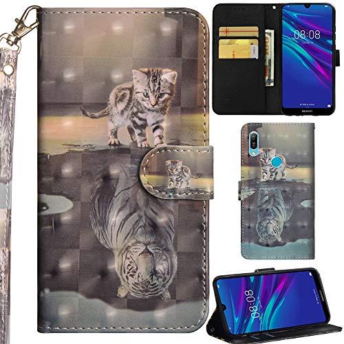 Ooboom Huawei Y6 2019/Honor 8A Hülle 3D Flip PU Leder Schutzhülle Handy Tasche Hülle Cover Ständer mit Trageschlaufe Magnetverschluss für Huawei Y6 2019/Honor 8A - Katze Tiger