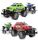 Mozlly Friction Powered Monster Trucks Car Toy SUV Towing ATV Toys Set of 2 - Monster Truck with Trailer ATV Toys for Fun Playtime Indoor or Outdoor - Cool Friction Toy Vehicle Cars for Kids - 2 Pack