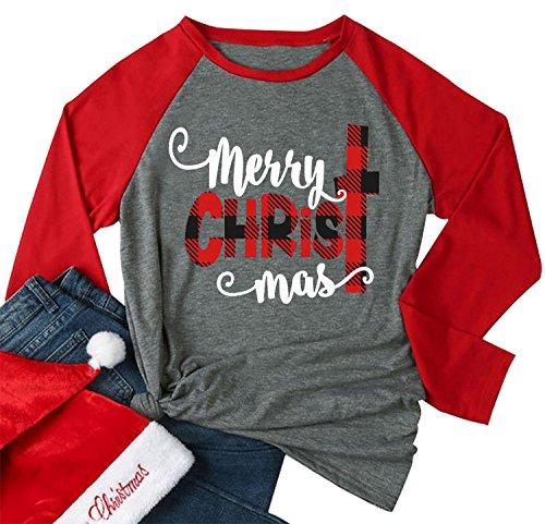 Merry Christmas Tee Shirts Women Christmas Tee Shirts Tops Letter Print Long Sleeve Raglan Baseball Tee Shirts Gray