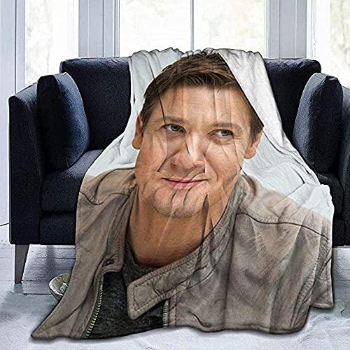 LLMMM Jeremy Renner - Manta de forro polar ultra suave de franela collage de felpa de linda calidad de microfibra para todas las temporadas, cálidas mantas decorativas para colcha o sofá