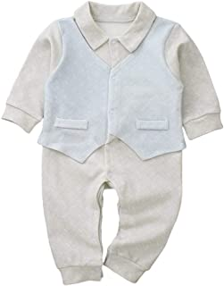 Xifamniy Infant Babies 2pcs Romper Cotton Stitching Long Sleeve Fashion Jumpsuit Gray