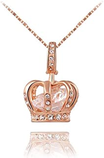 TIDOO Jewelry Womens Queen Crown Pendant Necklace 3 Lays Rose Gold/Platinum Plated with Austrain Crystals