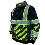 SafetyShirtz SS360 Stealth American Grit Hoody - Black - Enhanced Visibility XL by SafetyShirtz