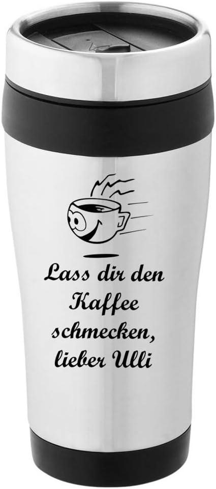 personalisierter Edelstahl-Thermobecher mit Wunschmotiv Text bedruckt Bild