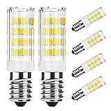 DiCUNO E14 Bombilla LED 4W (40W equivalente de halógeno), 400LM, Luz blanca (6000K), Base de cerámica E14, Tornillo Edison pequeño no regulable para iluminación doméstica, Paquete de 6
