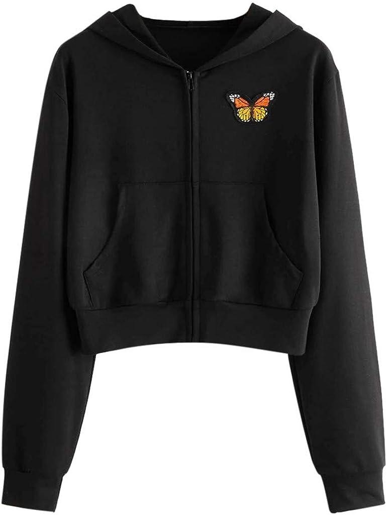 Hoodies for Women With Designs, Women'S Crop Tops Butterfly Embroidery Long Sleeve Zipper Hoodies Pocket Sweatshirts