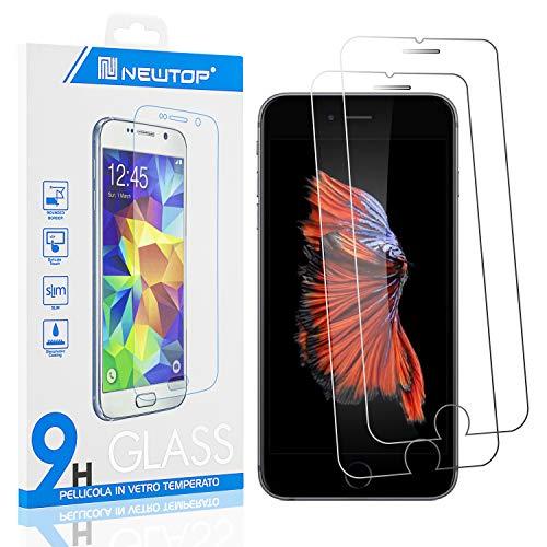 N NEWTOP [2 PEZZI] Pellicola Compatibile con iPhone 6 e 6S, GLASS FILM 0.3mm 9H Vetro Temperato Proteggi Schermo Display Anti Urto Protezione