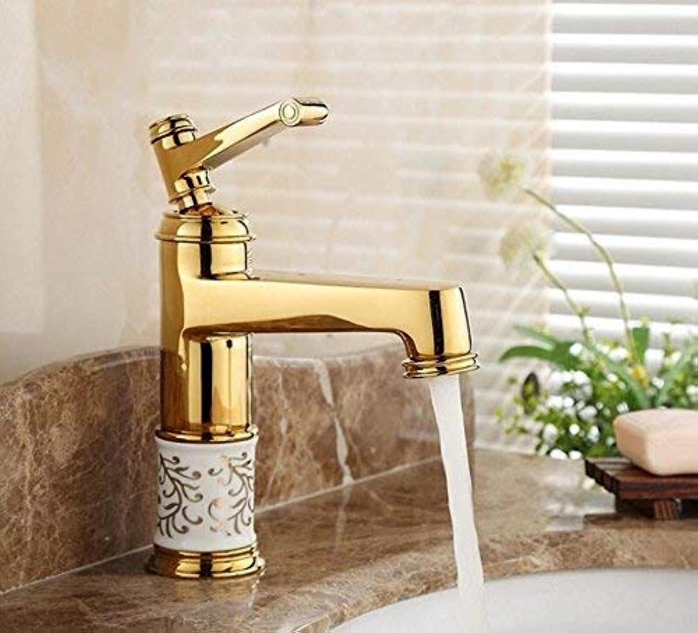 Oudan golden Bathroom Basin Faucet Mixer with Porcelain Ceramic Single Handle Deck Mount Torneira Sink Faucet G1090 (color   -, Size   -)