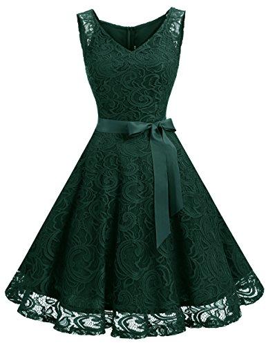 Dressystar Women Floral Lace Bridesmaid Party Dress Short Prom Dress V Neck XXL Dark Green