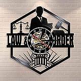 BFMBCHDJ Waage der Justiz Anwaltskanzlei Gerichtssaal Dekor Anwalt Wanduhr Anwalt Vinyl Schallplatte Wanduhr Law Order Pass the Bar Geschenk mit LED 12 Zoll