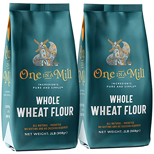 One in a Mill Whole Wheat Flour   100% All-Natural Unbleached Presifted Bread Flour for Baking Cakes, Pie Crusts & Artisan Doughs   Rich & Nutritious   Kosher Non-GMO & No Preservatives 2 Pack 2lb Bag
