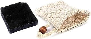 Mijo No.01 Schwarze Seife, Naturseife mit Bambus Aktivkohle, Bio Olivenöl für Gesicht gegen Pickel ca. 100g  Säckchen
