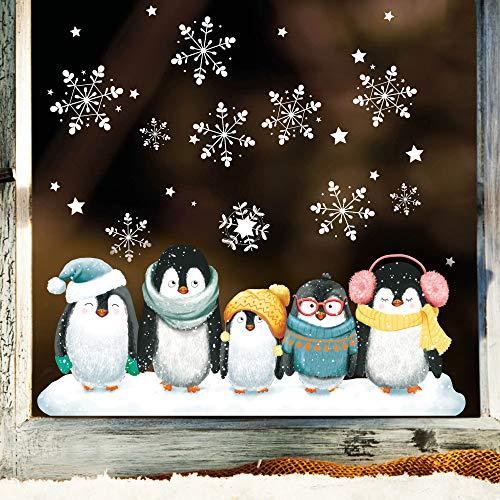Wandtattoo Loft Fensterbild Weihnachten Pinguine Schneeflocken Wiederverwendbare Fensteraufkleber Fensterdeko Kinderzimmer