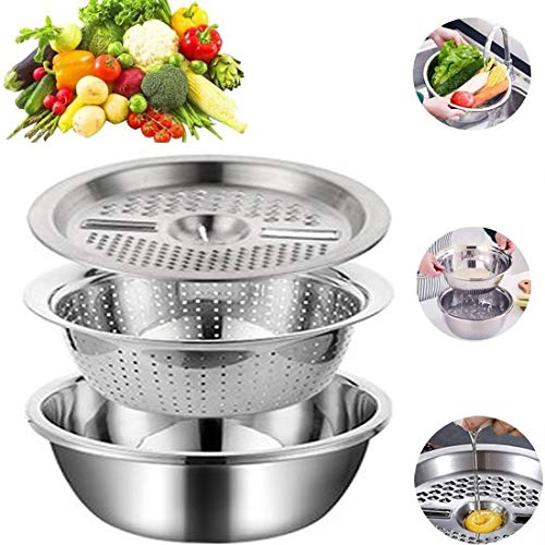 Graters for Kitchen Thick Stainless Steel Multifunction Grating Basin Set Kitchen Rice Sieve Drain Basin Creative And Practical Three-Piece Fruit Basket,Silver